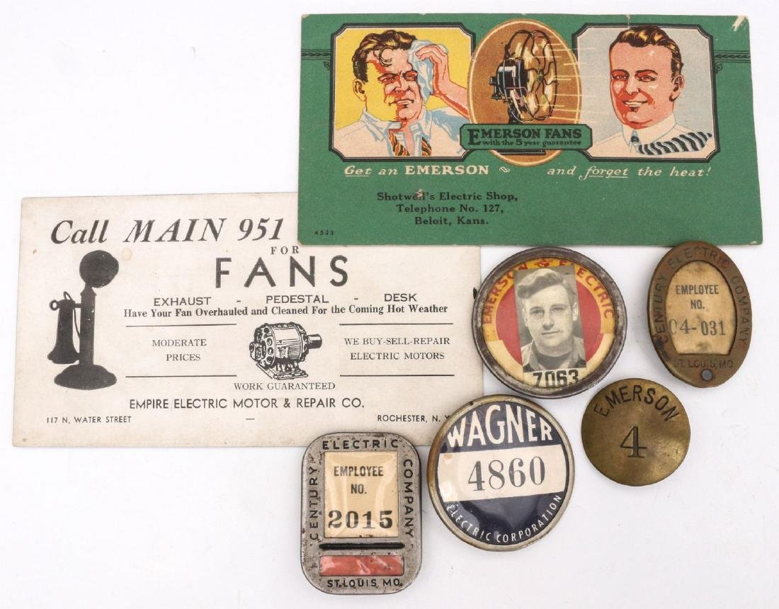 EMERSON AND OTHER FAN COMPANY BADGES, ADVERTISING