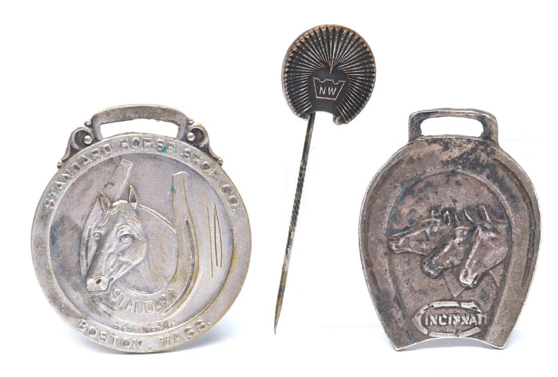 HORSE SHOE AND SHOE NAIL ADVERTISING FOBS & PIN