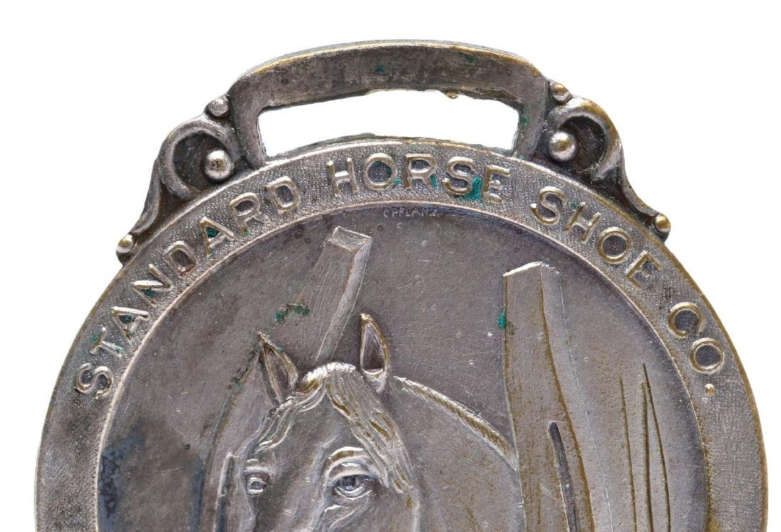 HORSE SHOE AND SHOE NAIL ADVERTISING FOBS & PIN - 3