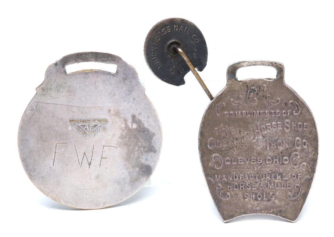 HORSE SHOE AND SHOE NAIL ADVERTISING FOBS & PIN - 9