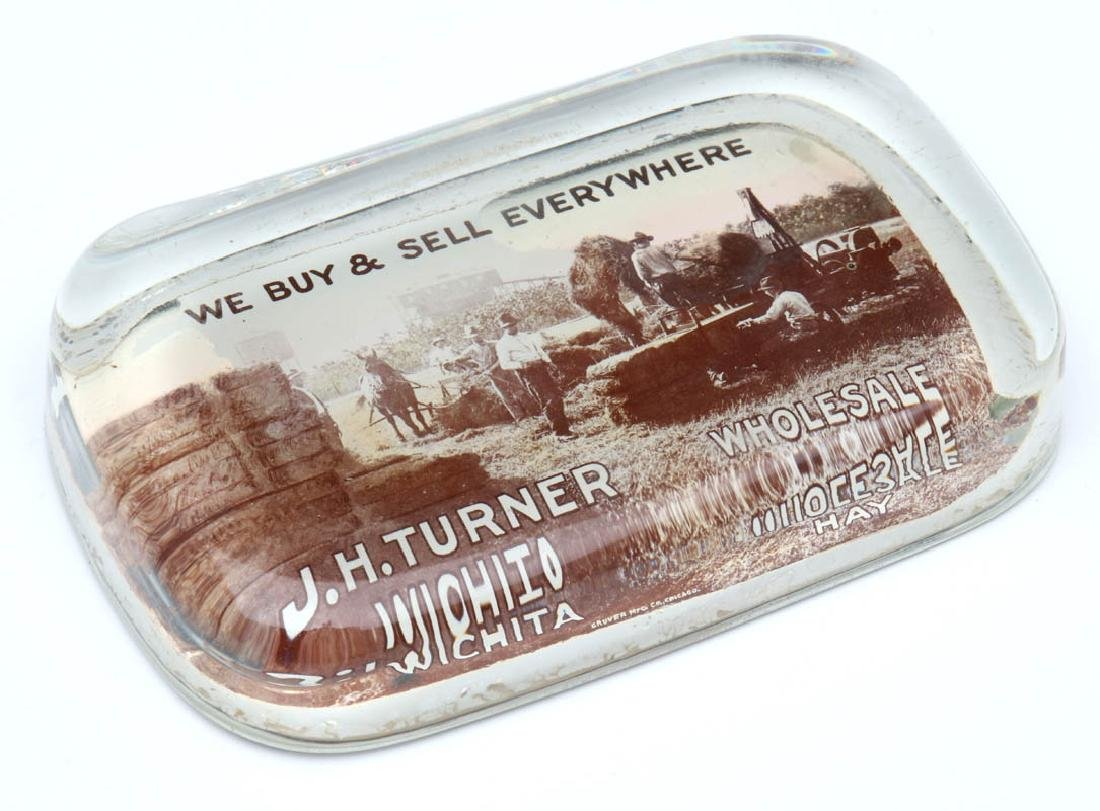 TURNER 'WHOLESALE HAY' WICHITA PAPERWEIGHT C. 1910