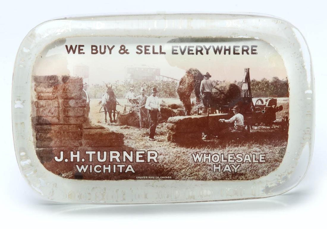 TURNER 'WHOLESALE HAY' WICHITA PAPERWEIGHT C. 1910 - 3