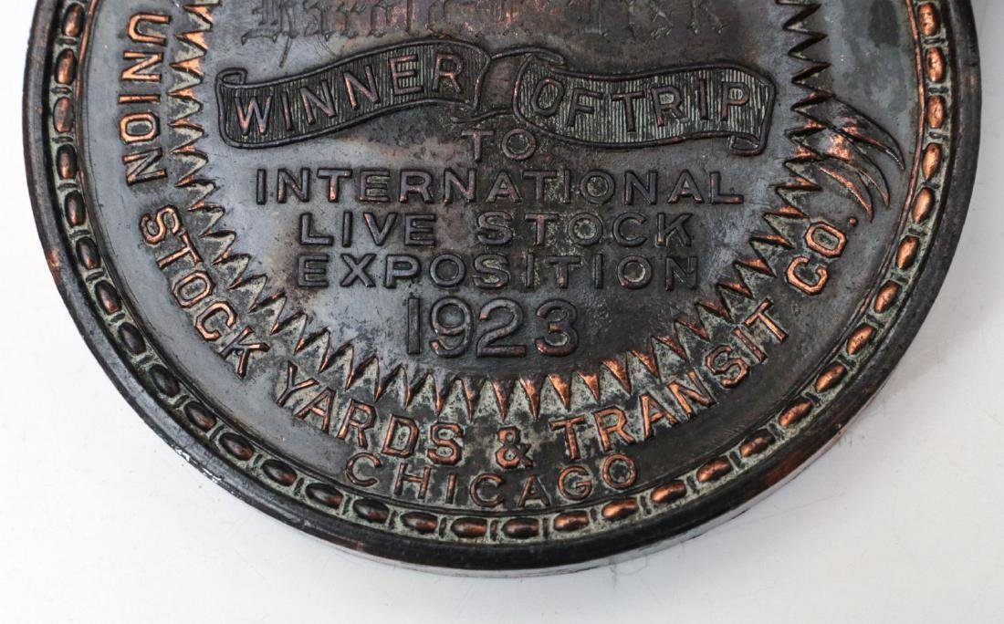 1923 STOCKMEN TABLE MEDAL AND PAPERWEIGHT - 3