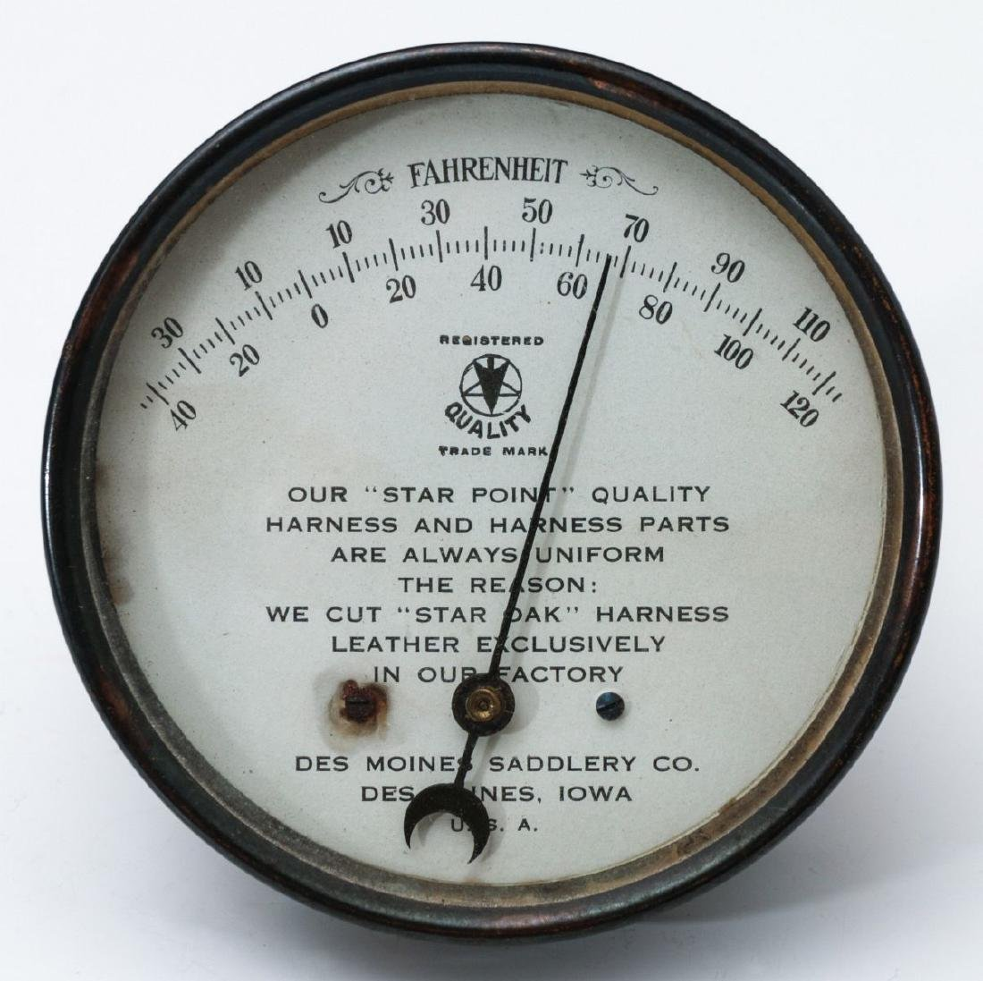 DES MOINES SADDLERY CO. ADVERTISING THERMOMETER