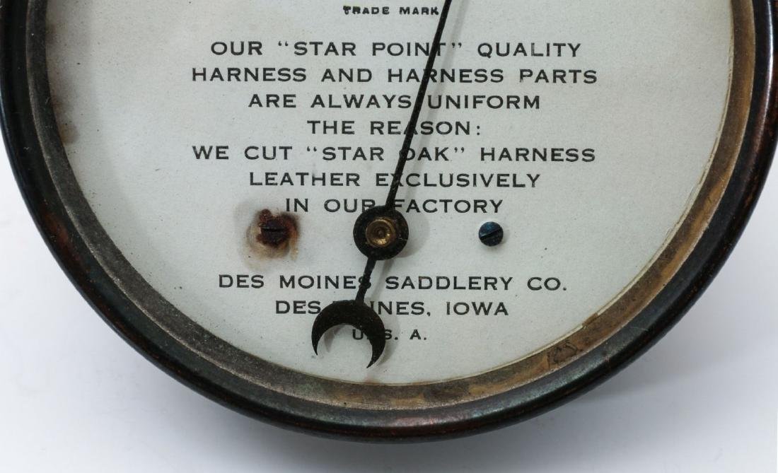 DES MOINES SADDLERY CO. ADVERTISING THERMOMETER - 3