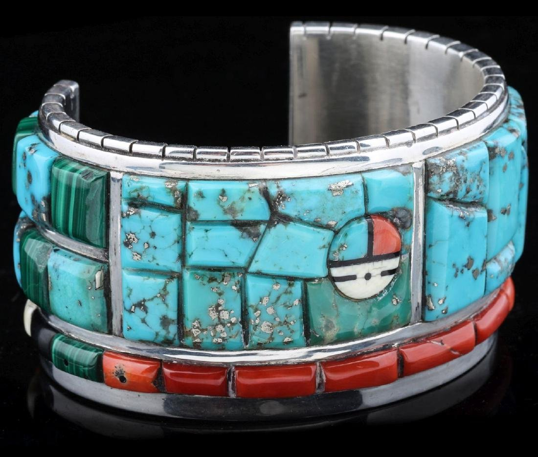 INTRICATE CORN INLAY BRACELET SIGNED CALVIN BEGAY