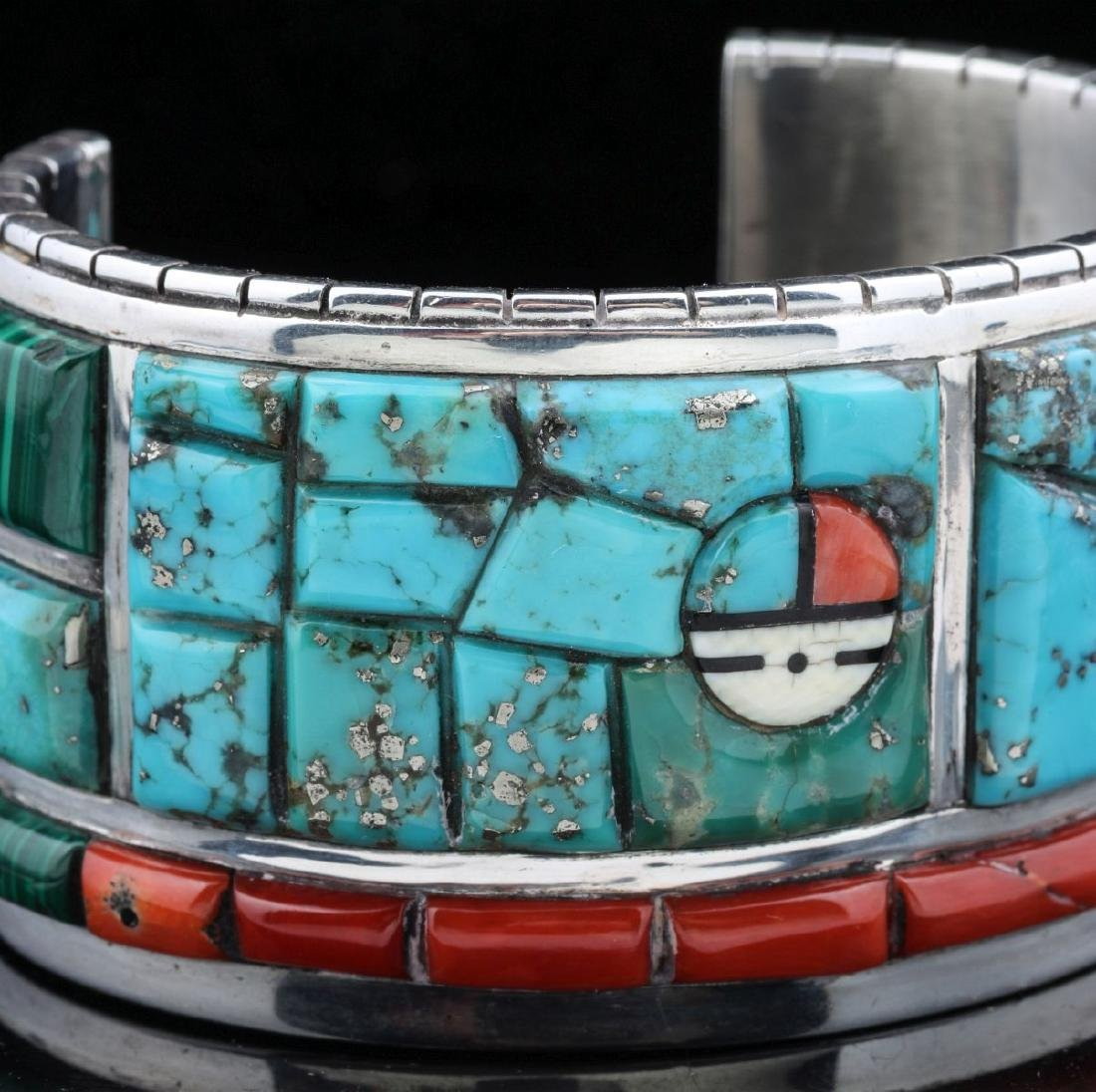 INTRICATE CORN INLAY BRACELET SIGNED CALVIN BEGAY - 2