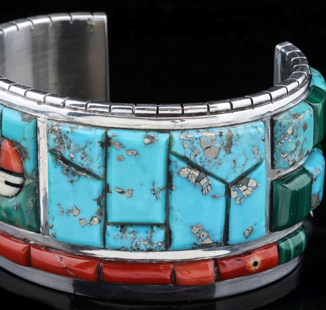 INTRICATE CORN INLAY BRACELET SIGNED CALVIN BEGAY - 3