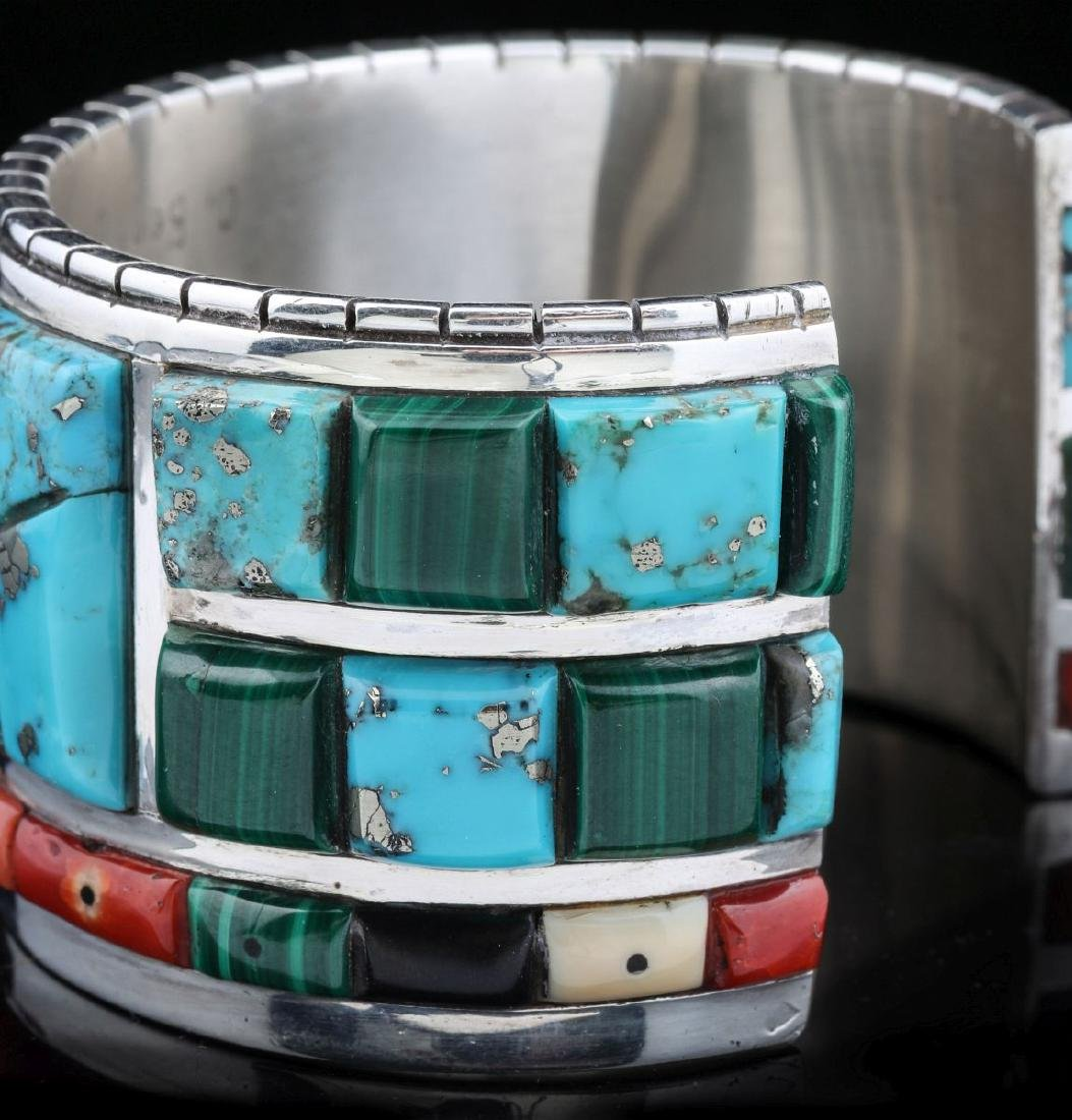 INTRICATE CORN INLAY BRACELET SIGNED CALVIN BEGAY - 4