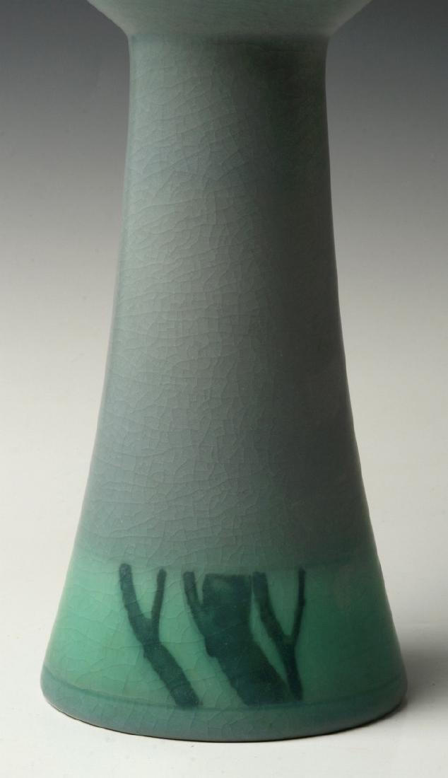 A 12-INCH ROOKWOOD VELLUM VASE SIGNED COYNE 1909 - 3