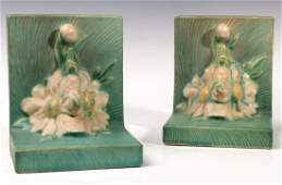 A PAIR OF ROSEVILLE 'PEONY' ART POTTERY BOOKENDS
