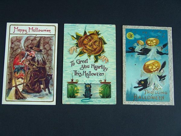 1: FIVE GOOD OLD HALLOWEEN POSTCARDS