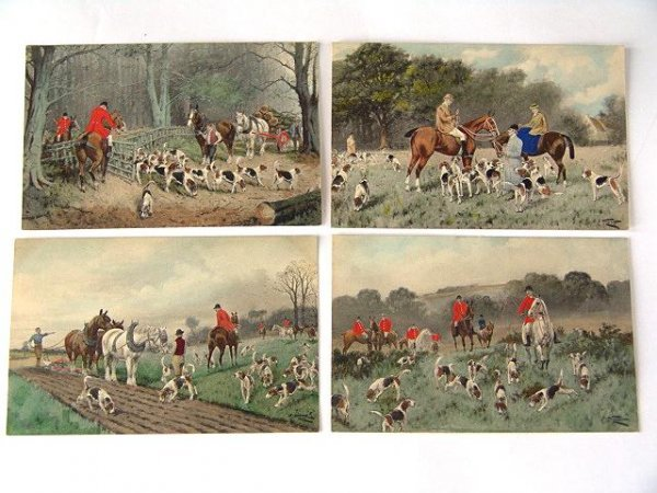 3: 5 OLD HAND COLORED FOX HUNTING POSTCARDS