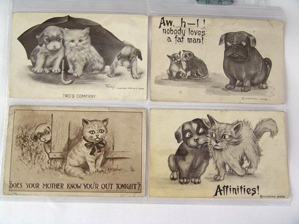22: 84 POSTCARDS -DOGS,CATS, & DRAWINGS