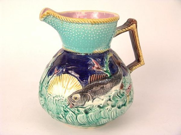 211: VICTORIAN  MAJOLICA FISH & SEASHELL PITCHER