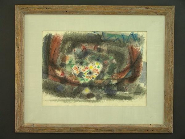 1021: ORIGINAL ABSTRACT WATERCOLOR SIGNED LOWER RIGHT