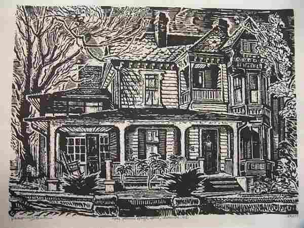 1068: PENCIL SIGNED WOOD CUT BY ROBERT MAC DONALD GRAHA