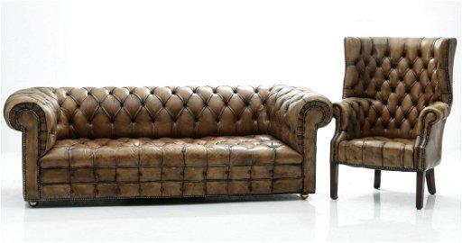 Tremendous A Vintage Leather Chesterfield Sofa And Wing Back Download Free Architecture Designs Scobabritishbridgeorg