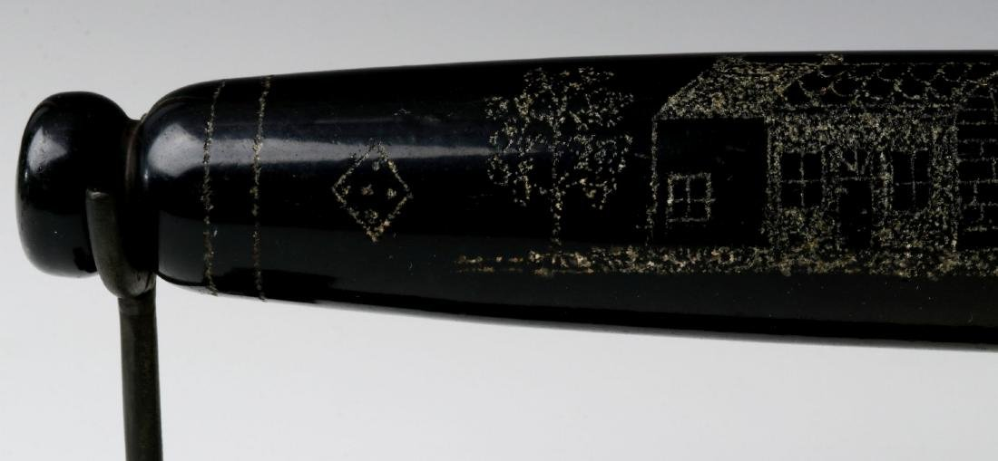 A 19TH CENTURY ENGRAVED BLOWN GLASS ROLLING PIN - 3