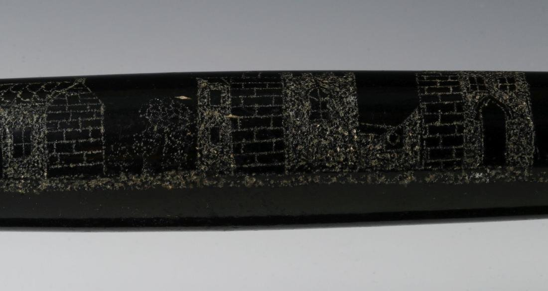 A 19TH CENTURY ENGRAVED BLOWN GLASS ROLLING PIN - 4