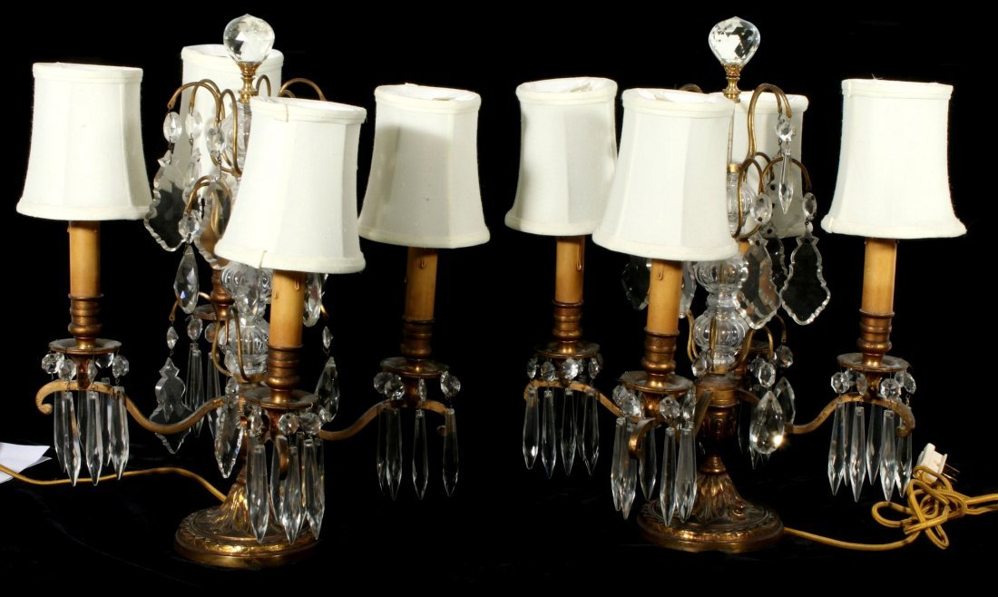 A PAIR EARLY 20TH C. BRONZE AND CRYSTAL GIRANDOLES
