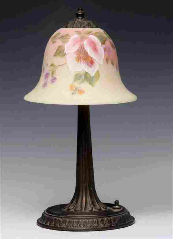 A FENTON LAMP W/ SIGNED AND NUMBERED BURMESE SHADE