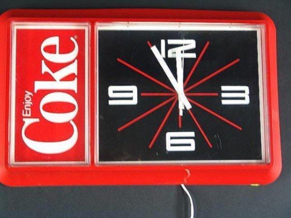 2508: 1980'S RED PLASTIC COCA-COLA CLOCK