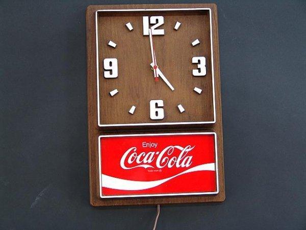 2509: 1970'S COCA-COLA PLASTIC WOOD GRAIN CLOCK