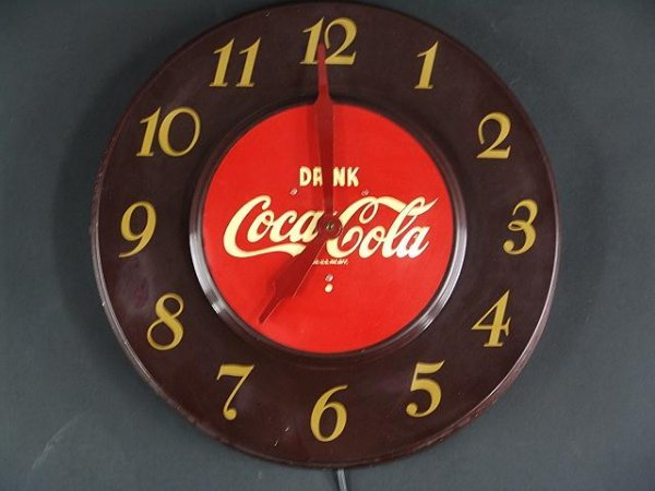2512: 1951 ROUND MAROON COCA-COLA  CLOCK