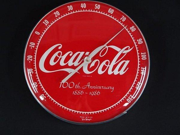 2513: COCA-COLA 100TH ANNIVERSARY ROUND THERMOMETER