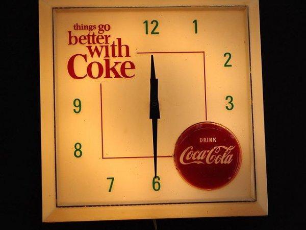 2516: 1963 TGBWC COCA-COLA ROUND DISK CLOCK