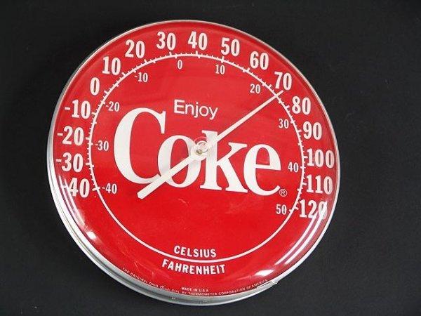 2517: 1990's ROUND RED COCA-COLA THERMOMETER