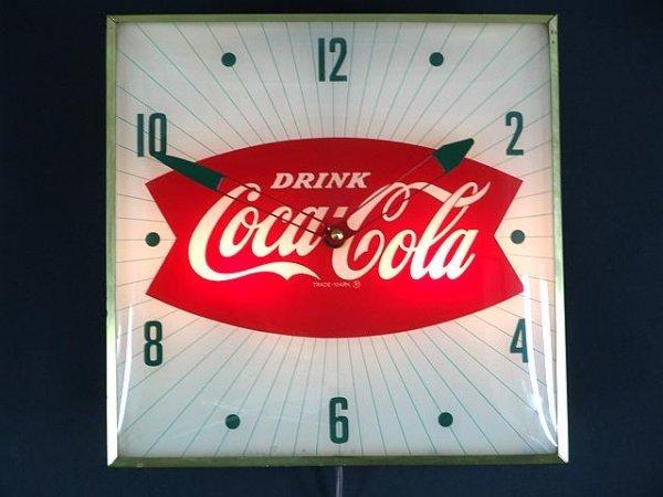 2518: 1960'S COCA-COLA FISHTAIL LIGHT UP CLOCK