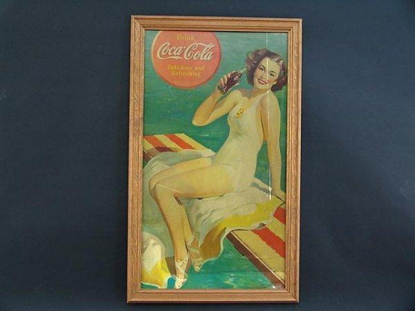 2520: PCS 204 1939 COCA-COLA CARDBOARD SIGN WITH BATHIN