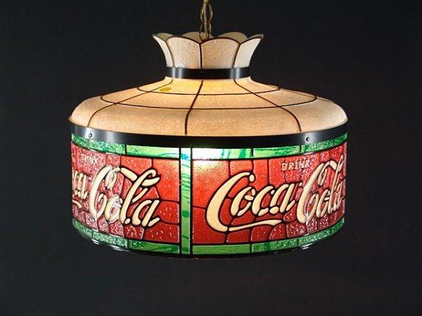 2522: COCA-COLA LEADED LOOK PLASTIC HANGING LIGHT