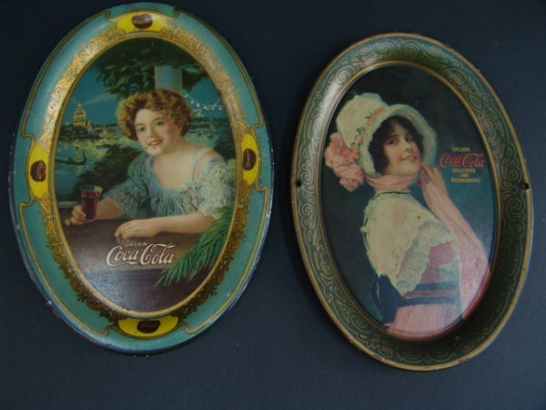 2693: TWO ORIG COCA-COLA TIP TRAYS WORLD'S FAIR