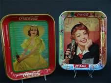 2699: TWO VINTAGE COCA-COLA TRAYS, 1939 & MENU GIRL