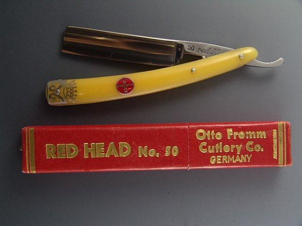 2165: MINT BOXED FROMM RED HEAD ANTQ STRAIGHT RAZOR