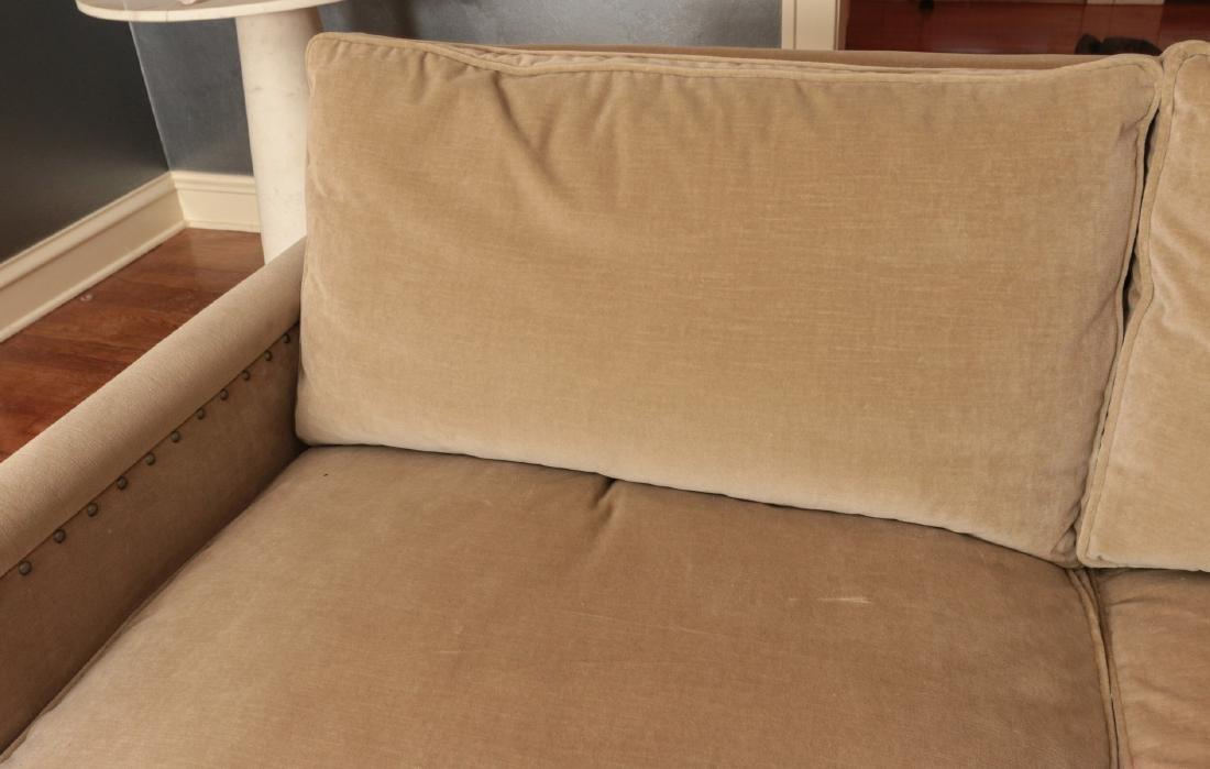 A TWO CUSHION SOFA WITH TACK HEADS - 5