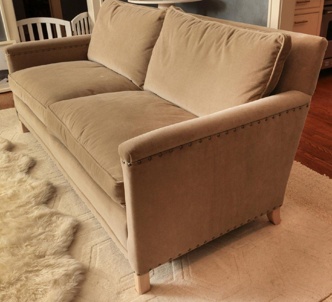 A TWO CUSHION SOFA WITH TACK HEADS - 6