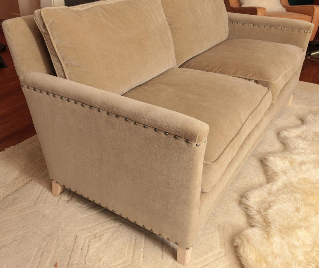 A TWO CUSHION SOFA WITH TACK HEADS - 7