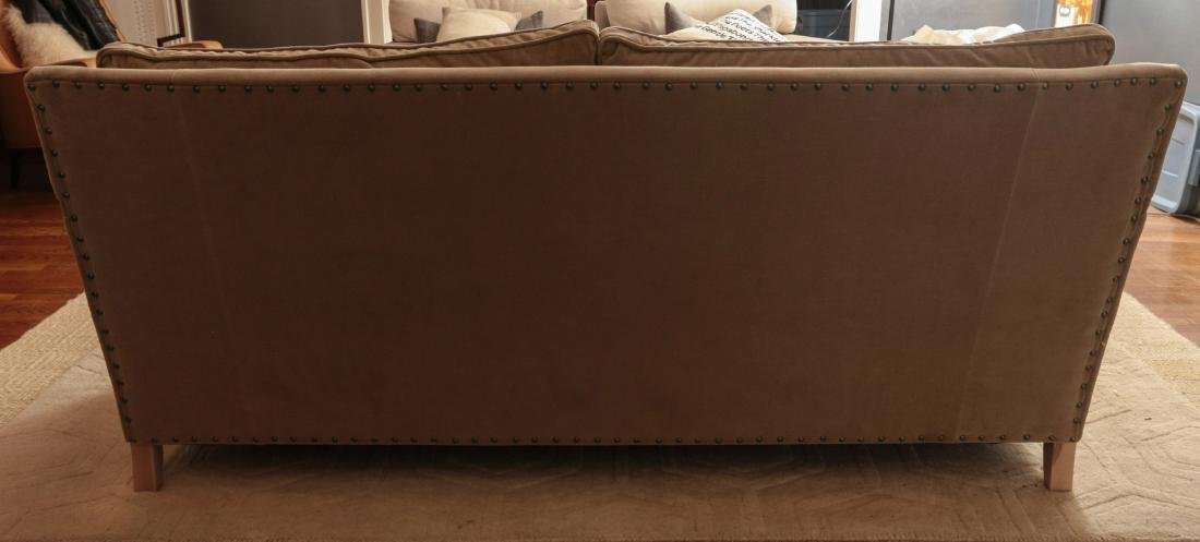 A TWO CUSHION SOFA WITH TACK HEADS - 8
