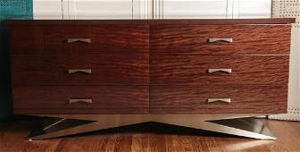 A CONTEMPORARY SIX DRAWER DRESSER IN EXOTIC WOODS