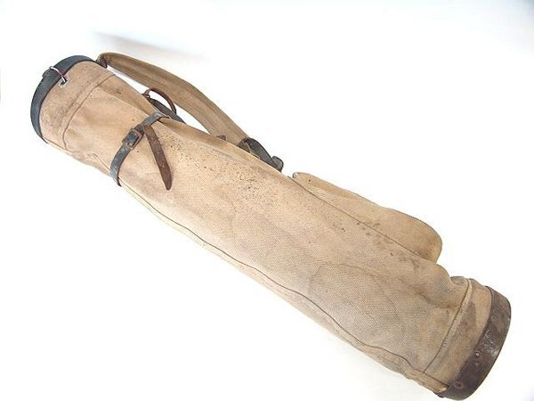 18: UNUSUAL 1920'S STOVEPIPE SELF-STANDING GOLF BAG