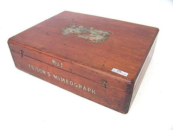 20: EDISON NO. 1 MIMEOGRAPH IN DOVETAILED BOX