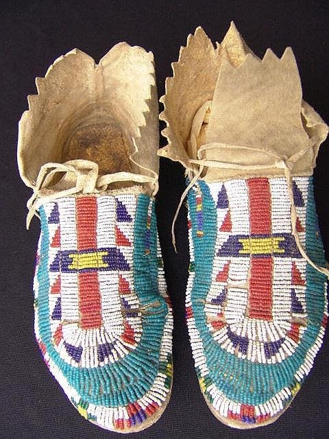 205: PAIR SINEW SEWN AMERICAN INDIAN BEADED MOCCASINS
