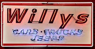 RARE WILLYS CARS TRUCKS JEEPS NEON OVER PORCELAIN
