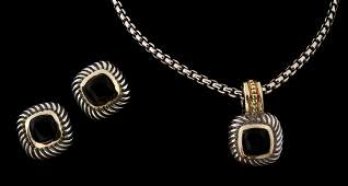 A DAVID YURMAN STERLING SILVER AND 14K GOLD SUITE