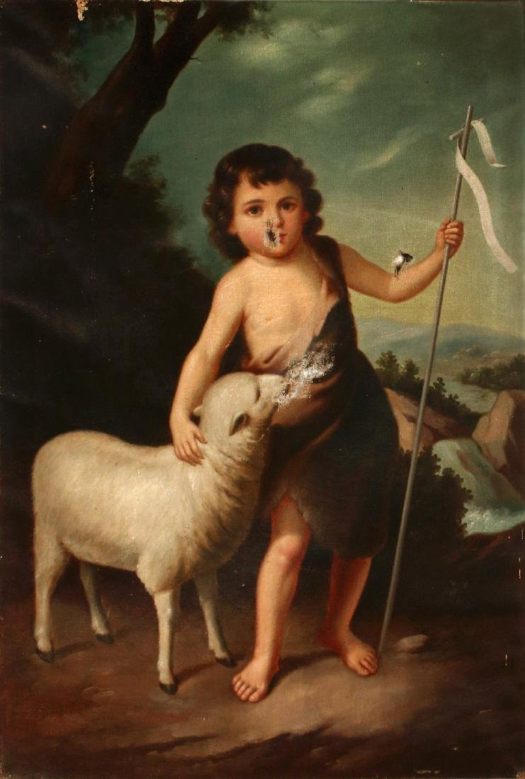 ST. JOHN THE BAPTIST AS A CHILD AFTER MURILLO O/C