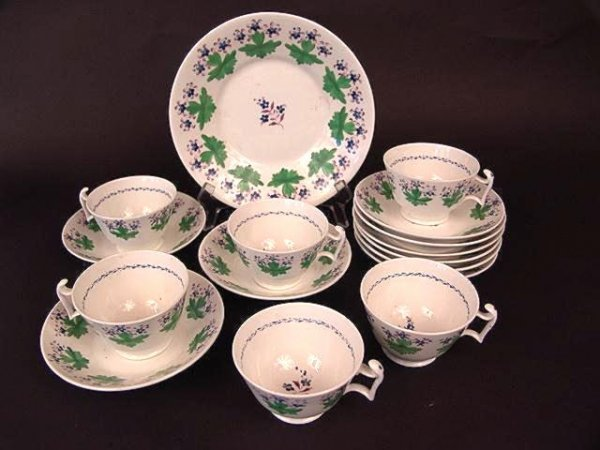 3021: 16 PIECES HAND PAINTED STAFFORDSHIRE CHINA
